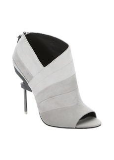 L.A.M.B. off white and grey suede 'Elastic' open toe booties