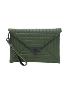 L.A.M.B. olive green quilted leather 'Ebba' clutch bag