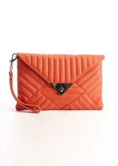 L.A.M.B. orange quilted leather 'Carlyle' clutch