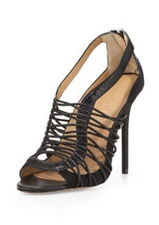 L.A.M.B. Raivyn Snake-Embossed Strappy Leather Sandal, Black