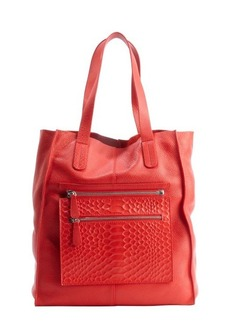 L.A.M.B. red leather 'Beulah II' zip pouch tote bag