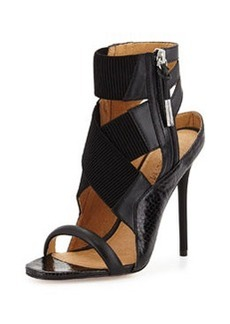 L.A.M.B. Reina Snake-Embossed Leather Crisscross Sandal