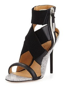 L.A.M.B. Reina Spotted Leather Crisscross Sandal
