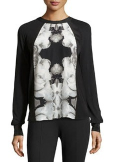 L.A.M.B. Rose Photo-Print Blouse, White/Black