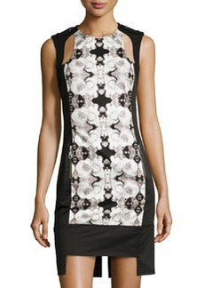 L.A.M.B. Rose Photo-Print Cutout Dress, White/Black