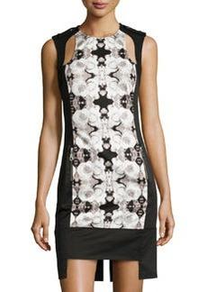 L.A.M.B. Rose Photo-Print Cutout Dress, White/Black