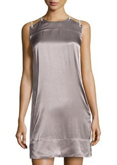 L.A.M.B. Sateen Lace-Up Shoulder Dress, Slate