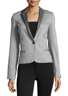 L.A.M.B. Sharkskin-Pattern One-Button Jacket