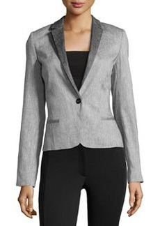 L.A.M.B. Sharkskin-Pattern One-Button Jacket, Silver Gray
