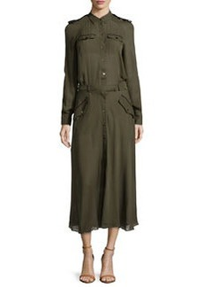 L.A.M.B. Silk Army Shirt Midi Dress, Pine