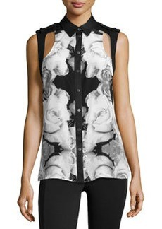 L.A.M.B. Silk Rose Photo-Print Blouse, White/Black