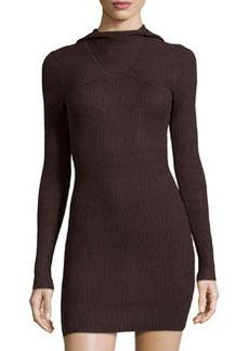 L.A.M.B. Silk/Cashmere Hooded Sweaterdress, Chocolate