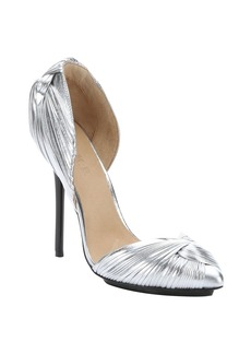 L.A.M.B. silver metallic leather 'Warner' twist-knot d'orsay pumps