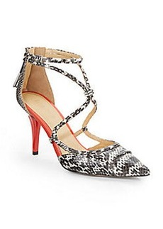 L.A.M.B. Snake-Embossed Leather & Patent Leather Ankle-Strap Pumps