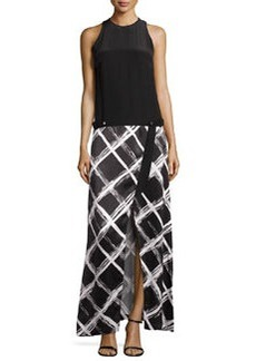 L.A.M.B. Solid & Diamond-Print Maxi Dress, White/Black