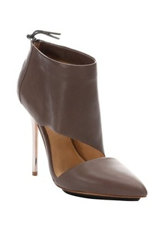 L.A.M.B. taupe leather 'Theo' metallic stiletto heel ankle booties
