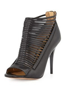 L.A.M.B. Tiffany Leather Caged-Front Bootie, Black