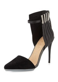 L.A.M.B. Tomas Mixed Leather and Suede Pump, Black