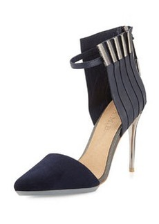 L.A.M.B. Tomas Mixed Leather and Suede Pump, Navy