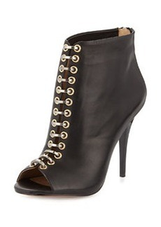 L.A.M.B. Tony Leather Peep-Toe Bootie, Black