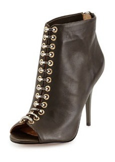 L.A.M.B. Tony Leather Peep-Toe Bootie, Olive
