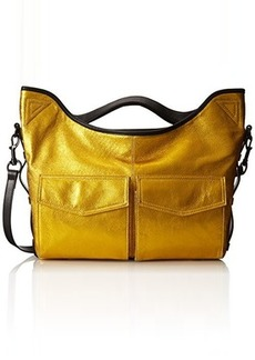 L.A.M.B. Top Handle with Pockets Shoulder Bag, Gold Crackle, One Size