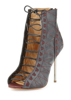 L.A.M.B. Tyra Metallic Lace-Up Bootie