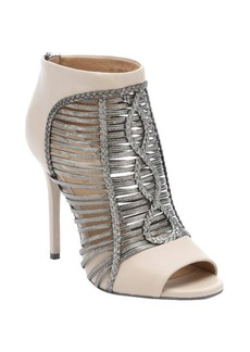 L.A.M.B. vanilla and gunmetal leather 'Kacee' peep-toe booties
