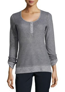 L.A.M.B. Waffle Knit 3-Button Henley, Heather Gray