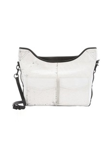 L.A.M.B. white and black crinkled leather 'Glad' utility messenger bag