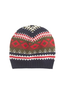 Lambswool stripe Fair Isle beanie