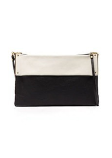 Bicolor Leather Shoulder Bag, Black   Bicolor Leather Shoulder Bag, Black