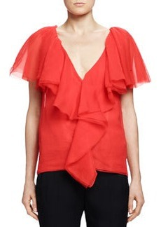 Cascade-Ruffle Top, Poppy Red   Cascade-Ruffle Top, Poppy Red