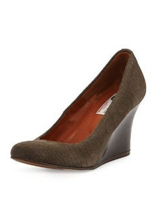 Croc-Embossed Ballerina Wedge Pump, Gray   Croc-Embossed Ballerina Wedge Pump, Gray