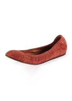 Croc-Embossed Scrunched Ballerina Flat, Burgundy   Croc-Embossed Scrunched Ballerina Flat, Burgundy