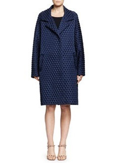 Diamond Waffle-Textured Caban Coat, Navy   Diamond Waffle-Textured Caban Coat, Navy