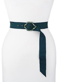 Grosgrain Crystal-Buckle Belt   Grosgrain Crystal-Buckle Belt