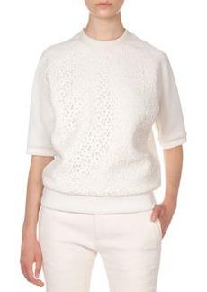 Half-Sleeve Lace-Front Sweatshirt   Half-Sleeve Lace-Front Sweatshirt