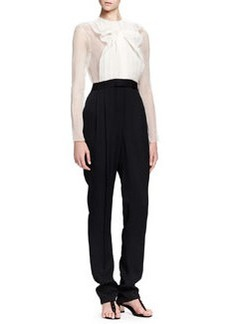 Jumpsuit with Sheer Top & Full-Length Legs   Jumpsuit with Sheer Top & Full-Length Legs