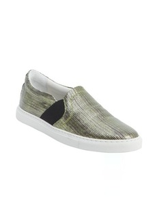 Lanvin acid green metallic textile slip on loafers
