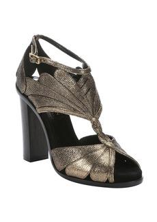 Lanvin aged gold leather petal detail sandals