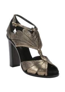Lanvin aged gold leather petal detail sandals