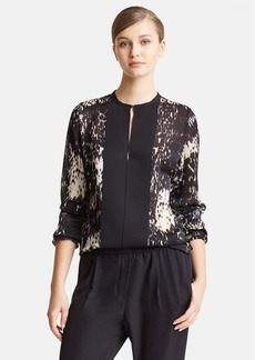 Lanvin Animal Print Grosgrain Placket Blouse