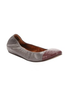 Lanvin anthracite and maroon leather captoe ballerina flats