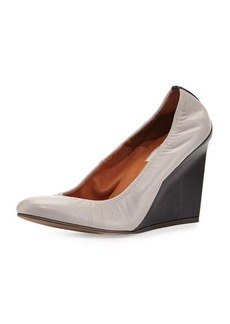 Lanvin Ballerina Wedge Pump, Gray/Black