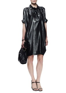 Lanvin Batwing-Sleeve Washed Metallic Dress