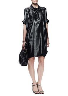 Lanvin Batwing-Sleeve Washed Metallic Dress, Dark Green