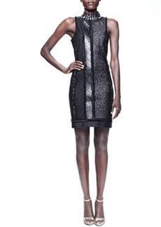 Lanvin Beaded-Collar Paneled Sheath Dress, Black