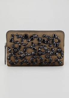 Lanvin Beaded Small Satin Zip Clutch, Khaki Bag