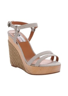 Lanvin beige snake embossed leather 'Nora' platform wedges